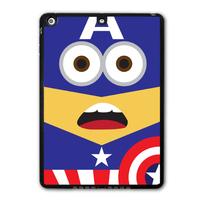 For iPad 5 Air/iPad Mini Lovely America Captain Minion Protective Black TPU Soft Shell Cover Case Free Shipping P50