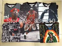 Hip hop star men clothes hba 1991 inc 3d 2pac t-shirt leather sleeve men shirts tupac shakur rihanna tupac leather tee