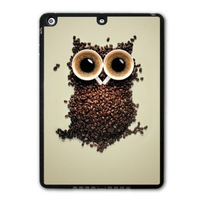 For iPad 5 Air/iPad Mini Lovely Coffee Owl Funny Protective Black TPU Soft Shell Cover Case Free Shipping P55