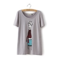 Europe and America woman T-shirt  summer clothes  the joker round collar  cartoon short sleeve cartoon giraffe gray color