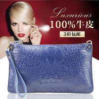 2014 women crocodile pattern genuine leather day clutch handbag cowhide clutches messenger bag LF06760