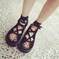 2014 spring and summer fashion flavor high quality black bandage platform velvet platform sandals female free shipping hot sale