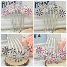 Full Colors Crystal Rhinestone Petal Tuck Comb Women Flower Hair Pin Hair Clip Headwear Accessories pink/purple FMPJ046(China (Mainland))