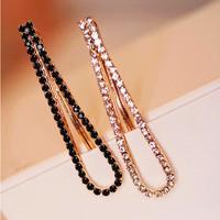 1 Pair (2 Pcs) New Fashion Rehinstone Black/ White Barrette Women Hairpins/ Hair Clips