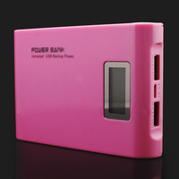 Free & Drop Shipping! Pink 12000mAh LCD External Power Bank Dual USB With a USB Cable Battery Charger for iPhone PSP for HTC