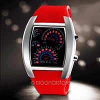 Hot Sale RPM Turbo Blue Flash LED Mens Sports Car Meter Dial Watch Wrist Watch Free Shipping 25JMPJ071