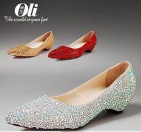 plus size white & red & gold wedding shoes bridal flat rhinestone crystal flat pointed toe flats