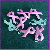 Wholesale! 50pcs High quality pink Enamel Ribbon connector breast cancer awareness sign jewelry bracelet accessories