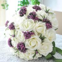 30 Flowers bridal White flower Romantic Wedding  Bride's Bouquet bridesmaid vestido de renda casamento souvenir Rose Flower