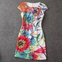 Brand New Fashion summer women's printing printed Slim short sleeve thin dress vest dress O-Neck high end wholesale
