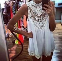 Stock!Free shipping chiffon sexy sleeveless crochet lace bodycon white women lace dress
