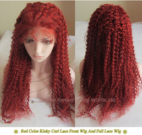 Free Shipping! 22 inch Red Color Kinky Curly  Indian Human Hair  Front Lace Wig And Full Lace Glueless Wigs Custom Order Wig