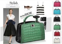 New 2014 Fashion Designer Brand Genuine Leather Women Handbag Mint Shoulder Bags Crocodile Pattern Messenger Totes Bolsas 36133