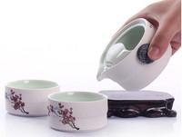 Handpainted Tea Set,1Tea Pot+2 Tea Cups Portable Snow  Glazed Tea Pot Set Gift Packing Plum Blossom Pattern Free shipping !!!