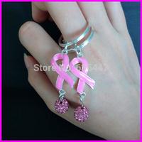 Wholesale 20pcs Fashion quality pink breast cancer Awareness sign women keychain shamballa ball pendant for handbag car chain