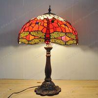 18 inch Red Dragonfly living room bar lamp Tiffany European alloy bottom lighting retro nostalgia export lamps