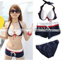 1 set / 3 PCs Bikini set +Shorts Push up Swimsuit  Swimwear Beach Freeshipping