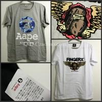 aTop Brand fingercroxx cotton round neck short sleeve T -shirt tide brand TEE