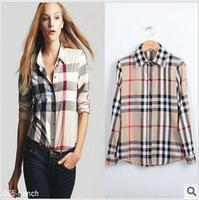 new arrival 2014 summer women blouses blending European fashion Slim plaid long-sleeved shirt collar style