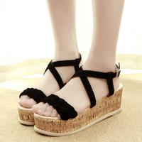 2014 platform student women's platform shoes vintage fashion hasp open toe wedges female sandals free shipping fashion style