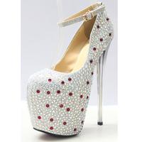 Spring and summer ultra high heels 19cm rhinestone shoes sexy  the bride wedding dress