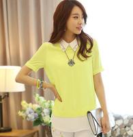 2014 New Fashion women chiffon blouse patchwork short sleeve shirt  yellow black  plus size S M L  Free Shipping