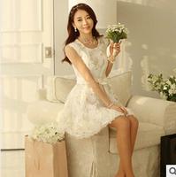 Whole sale hot sale summer dress 2014 party dresses sleeveless vest o-neck ball gown/ vestido de festa