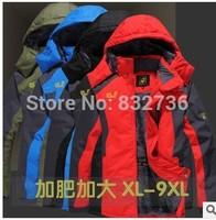 Big size 4XL 5XL 6XL winter men brand parkas cotton-wadded men's jackets &coat thickening fleece outdoor 7xl 8XL 9XL