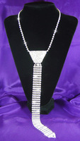Bridal Wedding Party Prom Drag Queen Crystal Rhinestone Necktie Necklace CC026