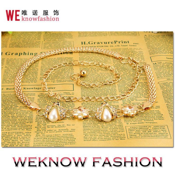 Beetle Ms. fashion decorative pearl diamond gold silver metal waist chain waist chain(China (Mainland))