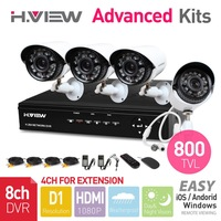 8CH Full D1 HDMI DVR 4 PCS 800TVL IR Outdoor Weatherproof CCTV Camera 24 LEDs Home Security System Surveillance Kits No HDD