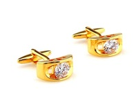 Plain metal male gold silver crystal inlaying cufflinks classic french nail sleeve cufflinks