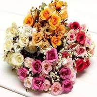Artificial Babysbreath Rose Bridal bouquet Silk Fake Flower Wedding Party Decor