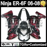 Red flames 7gifts For KAWASAKI NINJA 650R 650 ER-6F 06-08 ER650 T531 ER6F ER 6F 06 07 08 2006 2007 2008 Fairing+ NEW Black red