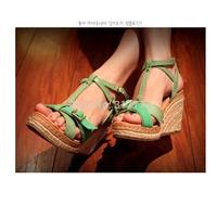 2014 hemp-soled straw braid women's wedges shoes plus size 43 small 33 platform cross-strap shoes