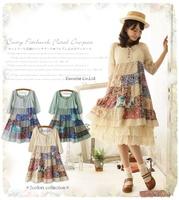Patchwork one-piece dress Mori Girl loose floral print winter dress loose waisted cerlibrity Bandage mulhere Vestido Bandagem