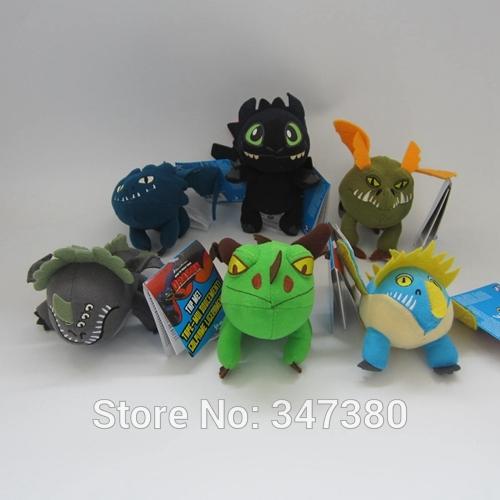 50sets(1set=6pcs) How to Train Your Dragon Plush Stuffed Dragon Stuffed Animals Plush Night Fury by EMS Free Shipping(China (Mainland))