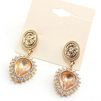 wholesale 2014 hot sell fashion crystal lion drop earring for women free shipping E337