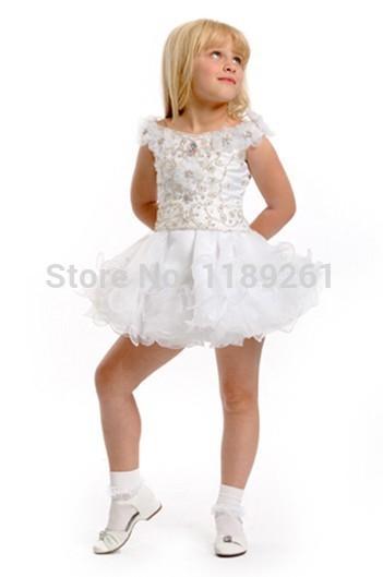 Beleza Ball vestido curto branco Mini Organza Contas Lantejoulas Vestidos Pageant For Kids Flor Barato Vestidos menina Para Z125 Wedding(China (Mainland))