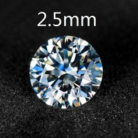 Genuine Certified White Moissanite Loose Round Brilliant Cut  2.5mm 0.05Carat  VVS G-H Colorless Free Shipping
