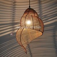 Chinese retro escargot rattan bedroom balcony light creative lighting fixtures Restaurant Bar Art chandelier lamp antique light
