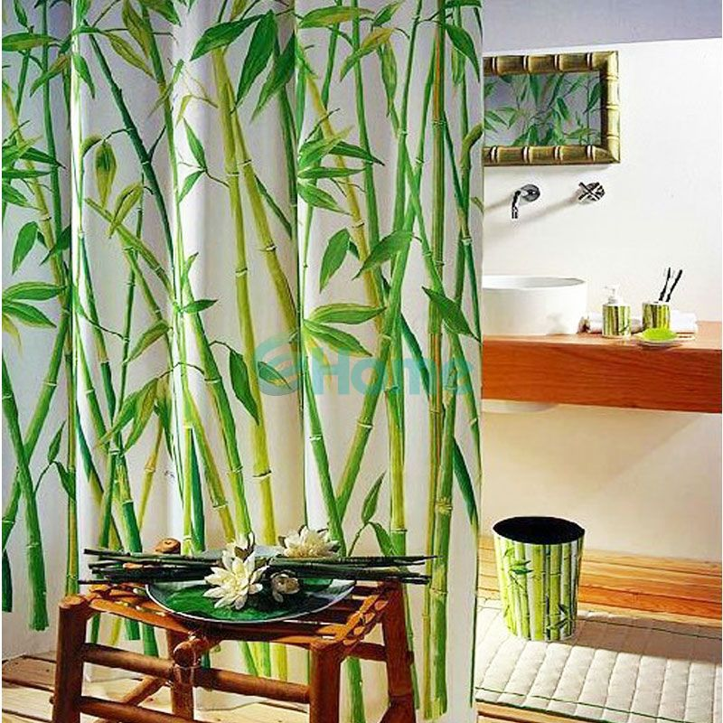 Cortinas De Baño Por Mayor:Bamboo Design Fabric Shower Curtain