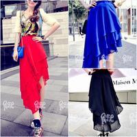 Fashion New Trend Multi-Layered Ruffles Irregular Chiffon Skirt Modern Chic Design Eye-Catching Look Solid Skirt Women 3395
