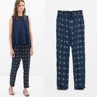 2014 New arrivals Ladies'  Elegant Rudders print  harem pants cozy trousers drawstring pockets pants casual brand design pants