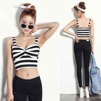 Trend Women Black/White Stripe Bare-midriff Crop Short Top Shirt Girl Tee Blouse