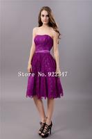 Free Shipping custom made fashion elegant dresses plus size party dress purple party dresses