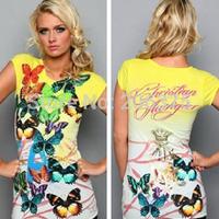 Wholesale 2014 Summer Women's long shirts short sleeve o-neck Cotton Printed Fashion shirt dress lady long t-shirt Free shipping