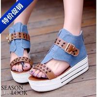 2014 summer flat sandals fashionable casual paltform shoes canvas fashion shoes women's shoes