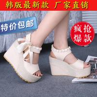 2014 wedges sandals women's lacing platform open toe color block decoration women's flat shoes