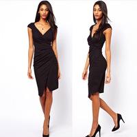Desigual Women Dress 2014 Summer Asymmetrical Fold Waist Deep V Design High-elastic Pencil Dress Short-sleeved Women Ol Slim